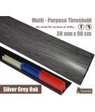 Silver Grey Adhesive Laminated Door Threshold Strip 38mm x 90cm Multi-Height/Pivots