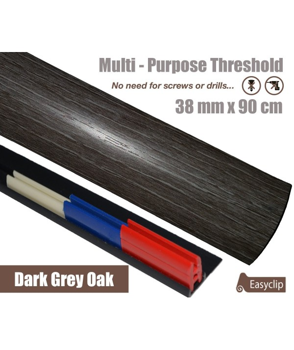 Dark Grey Oak Laminate Transition Strip 38mm x 0.90mtr Multi-Height and Pivot