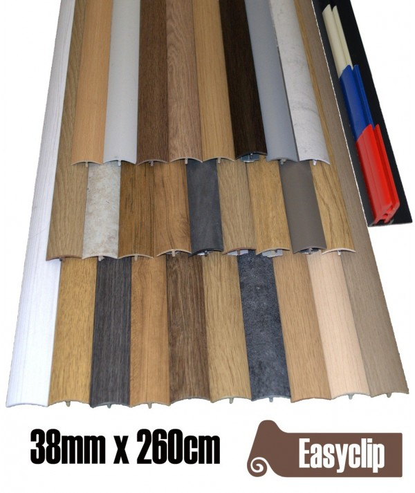 Made to Order 38mm x 260cm  Transition Threshold Strip Door Threshold Multi Purpose Easyclip Adhesive