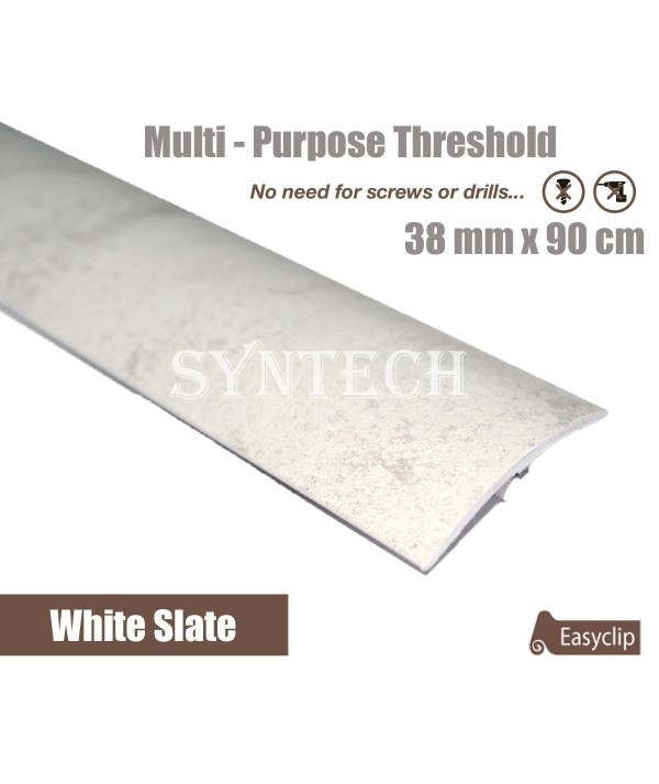White Slate Laminated Transition Threshold Strip 38mm Multi-Height/Pivots 90cm