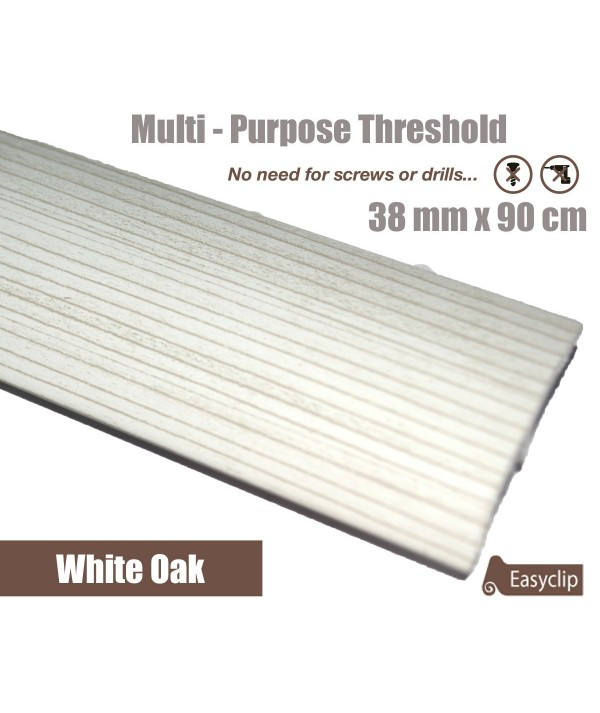 White Oak Laminated Transition Threshold Strip 38mm Multi-Height/Pivots 90cm