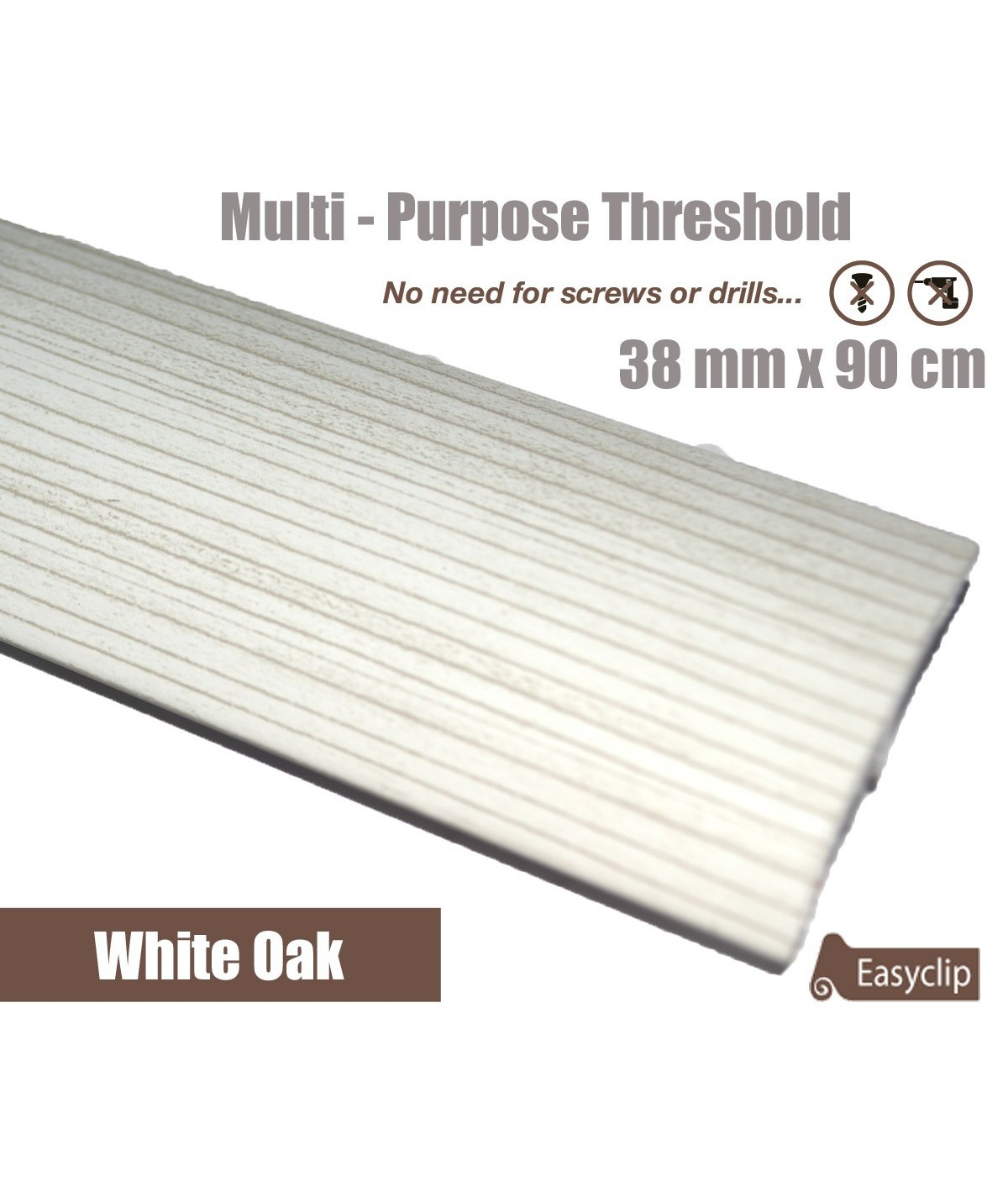 White Oak Laminated Transition Threshold Strip 38mm Multi-Height/Pivots 90cm