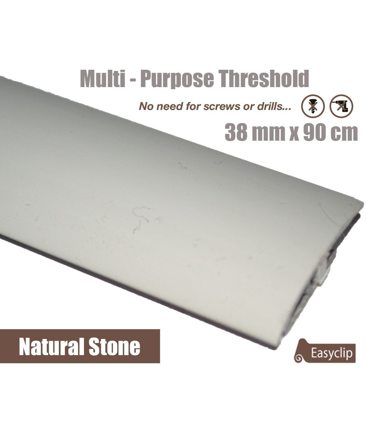Natural Stone Laminated Transition Threshold Strip 38mm Multi-Height/Pivots 90cm