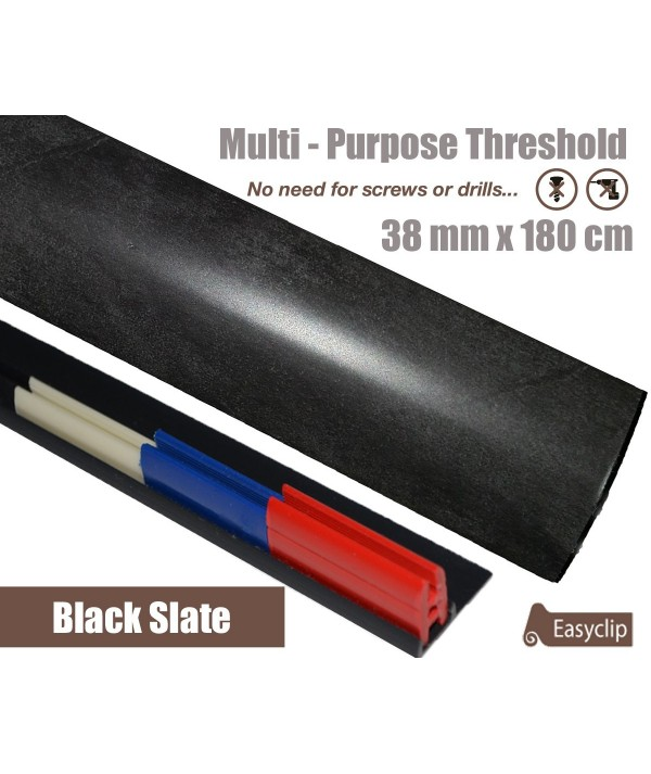 Black Slate Laminated Transition Threshold Strip 38mm Multi-Height/Pivots 180cm