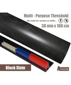 Black Slate Laminated Transition Threshold Strip 38mm Multi-Height/Pivots 180cm