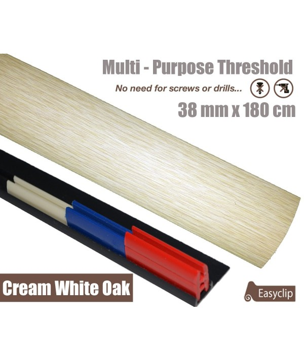 Cream White Oak Threshold Strip 38mm x 180cm laminate multi Purpose Adhesive Clip System