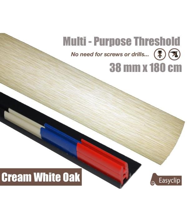 Cream White Oak Threshold Strip 38mm x 180cm laminate multi Purpose Adhesive Clip System