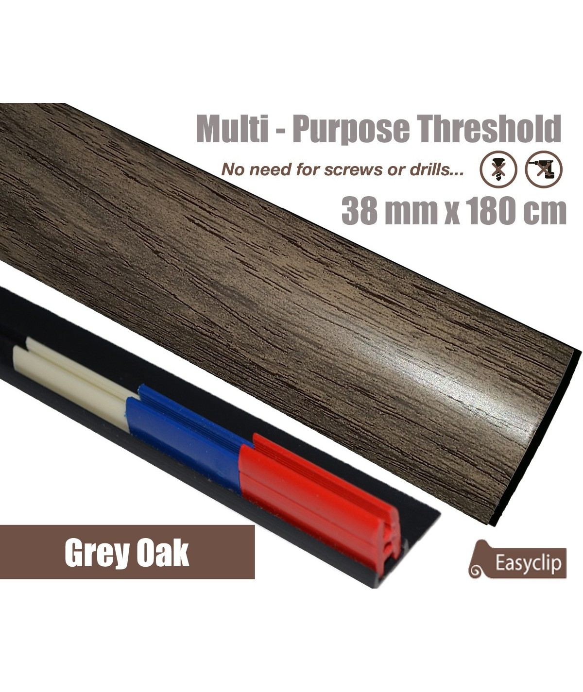 Grey Oak Threshold Strip 38mm x 180cm laminate multi Purpose Adhesive Clip System