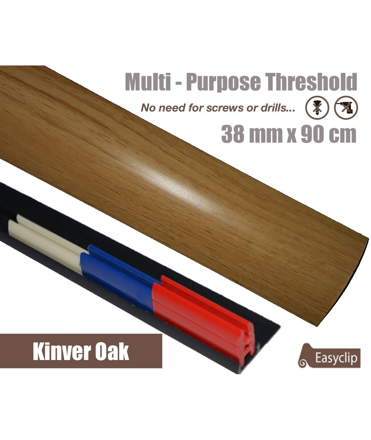 Kinver Oak Laminate Transition Strip 38mm x 0.90mtr Multi-Height and Pivot