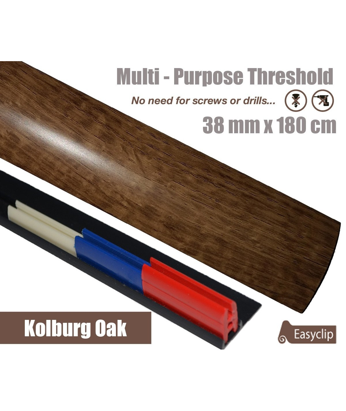 Kolburg Threshold Strip 38mm x 180cm laminate multi Purpose Adhesive Clip System