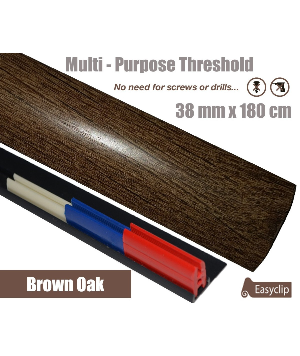 Brown Oak Threshold Strip 38mm x 180cm laminate multi Purpose Adhesive Clip System