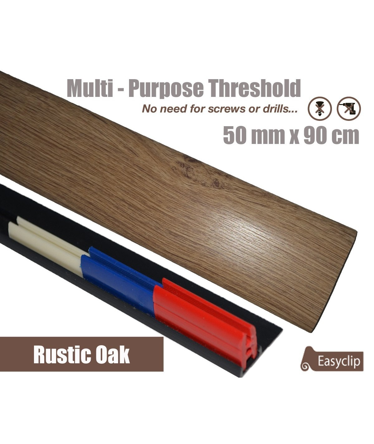 Rustic Oak Laminated Transition Threshold Strip 50mm x 90cm Multi-Height/Pivots