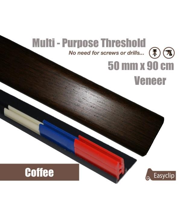 Coffee Veneer Transition Threshold Strip  50mm x 90cm Multi-Height/Pivots