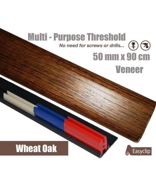 Wheat Oak Veneer Transition Threshold Strip  50mm x 90cm Multi-Height/Pivots