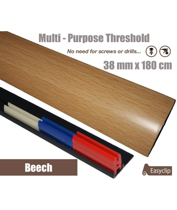 Beech Threshold Strip 38mm x 180cm laminate multi Purpose Adhesive Clip System