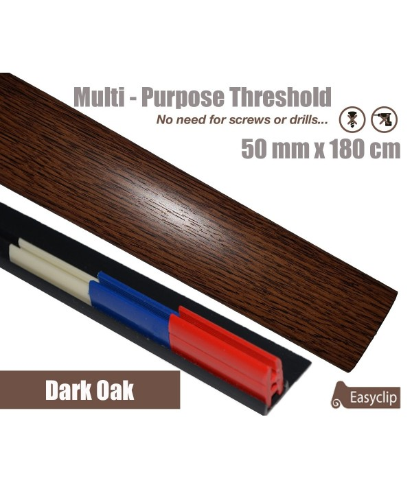 Dark Oak Laminated Transition Threshold Strip  50mm x180cm Multi-Height/Pivots