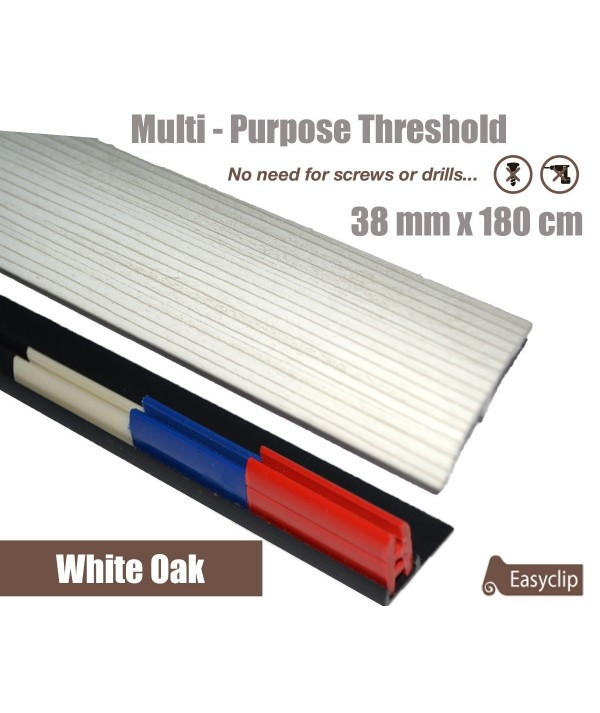 White Oak Threshold Strip 38mm x 180cm laminate multi Purpose Adhesive Clip System