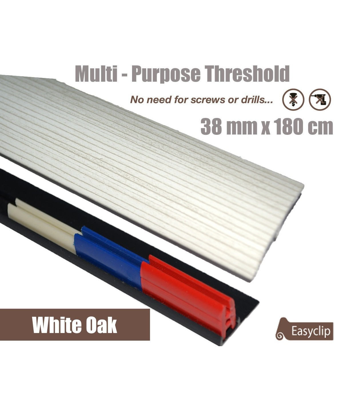 White Oak Threshold Strip 38mm x 180cm laminate multi Purpose Adhesive Clip System