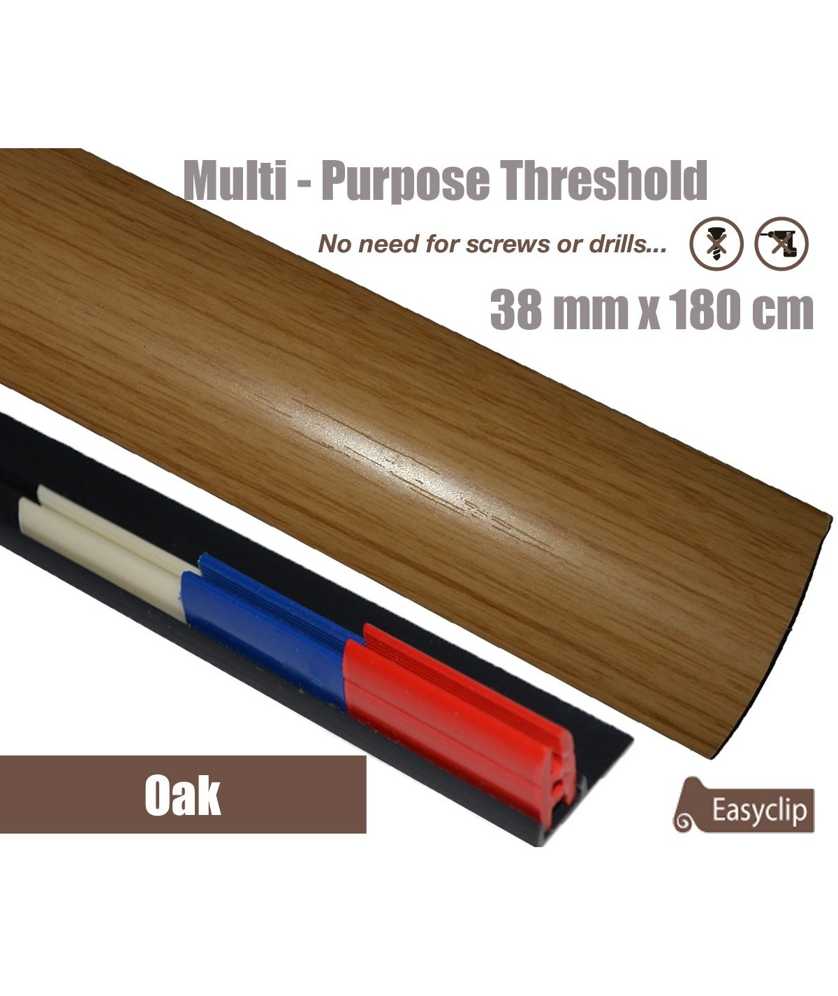 Oak Threshold Strip 38mm x 180cm laminate multi Purpose Adhesive Clip System