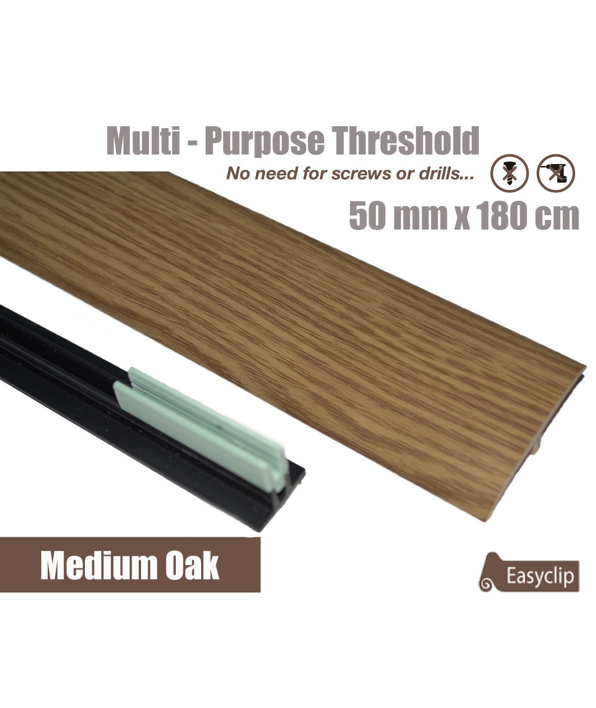 Medium Oak Laminated Transition Threshold Strip 50mm x180cm Multi-Height/Pivots