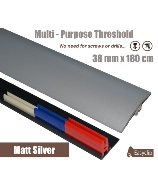 Matt Silver Threshold Strip 38mm x 180cm laminate multi Purpose Adhesive Clip System