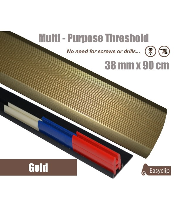Gold 38mm x 90cm Aluminium Transition Threshold Strip Door Threshold Multi Purpose Easyclip Adhesive