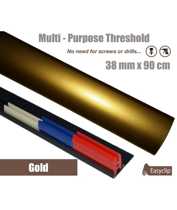 Gold Adhesive Laminated Door Threshold Strip 38mm x 90cm Multi-Height/Pivots
