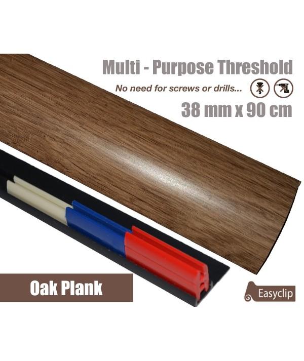 Oak Plank Laminate Transition Strip 38mm x 0.90mtr Multi-Height and Pivot