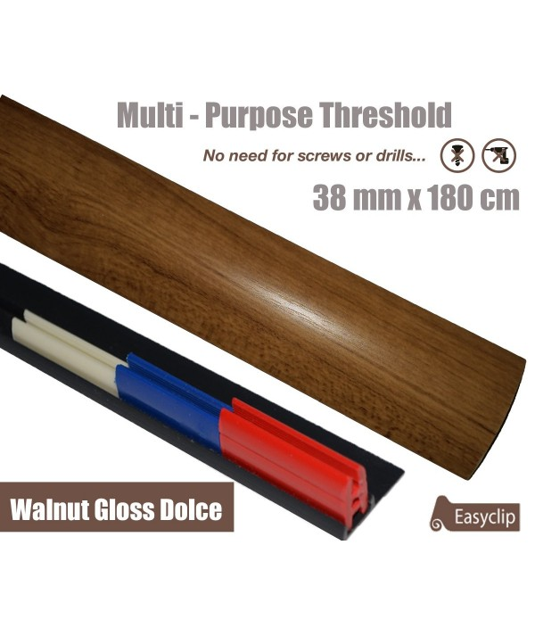 Walnut Gloss Dolce Threshold Strip 38mm x 180cm laminate multi Purpose Adhesive Clip System