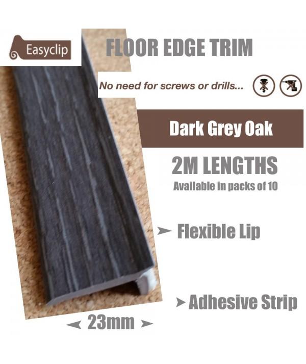 Dark Grey Oak Floor Edge Adhesive Trim 10 x 2Mtr Lengths Bridge Gap Between Floor and Skirting