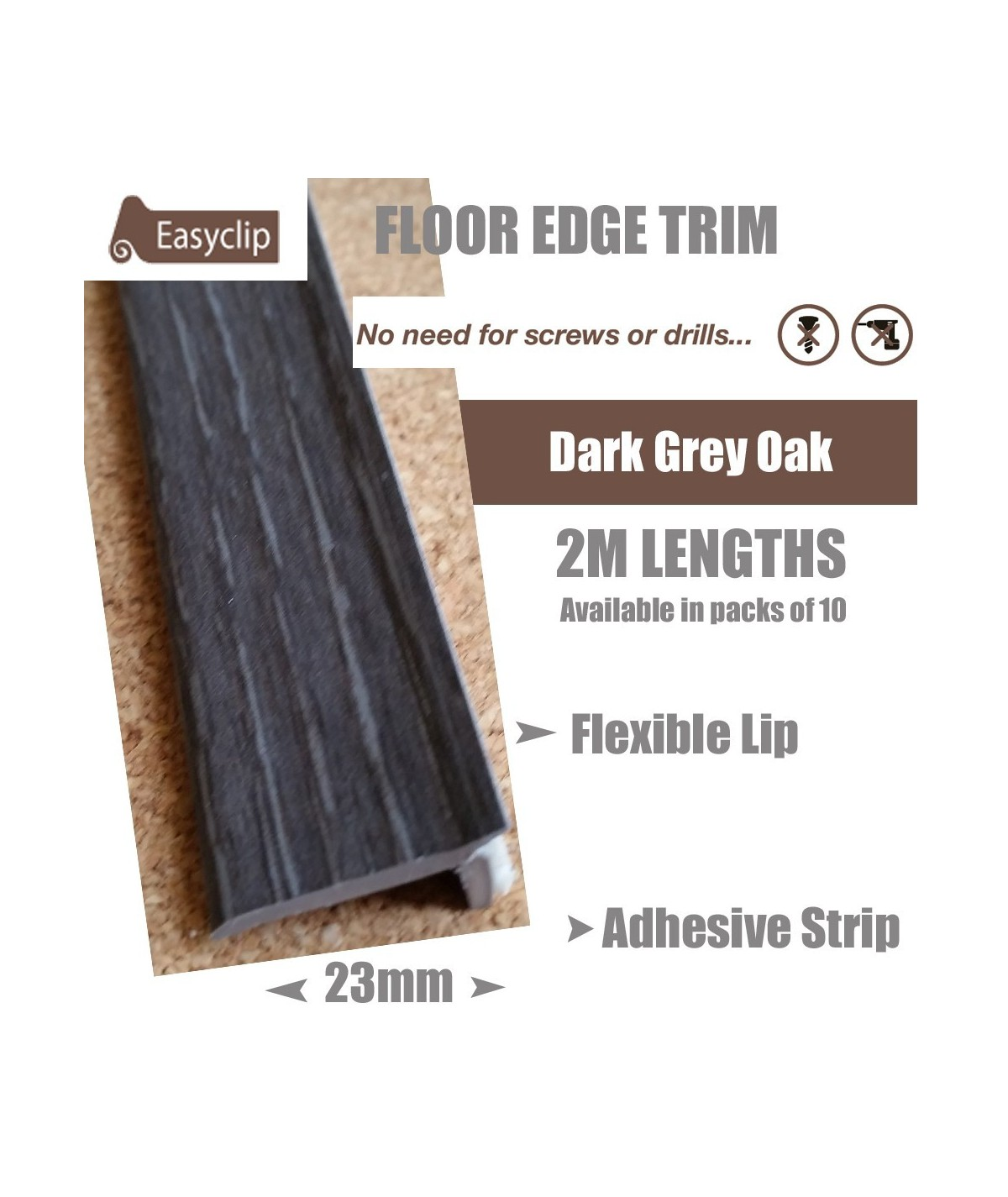 Dark Grey Oak Floor Edge Adhesive Trim 10 x 2Mtr Lengths Bridge Gap Between Floor and Skirting