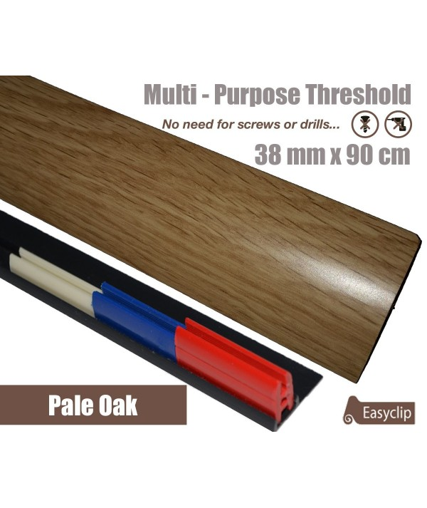 Pale Oak Laminate Transition Strip 38mm x 0.90mtr Multi-Height and Pivot