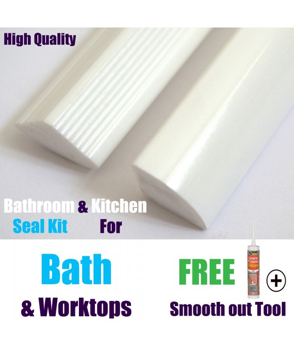 New Quality Solid Bath Seal Kit White Gloss Finish Free Tool & Sealant Included