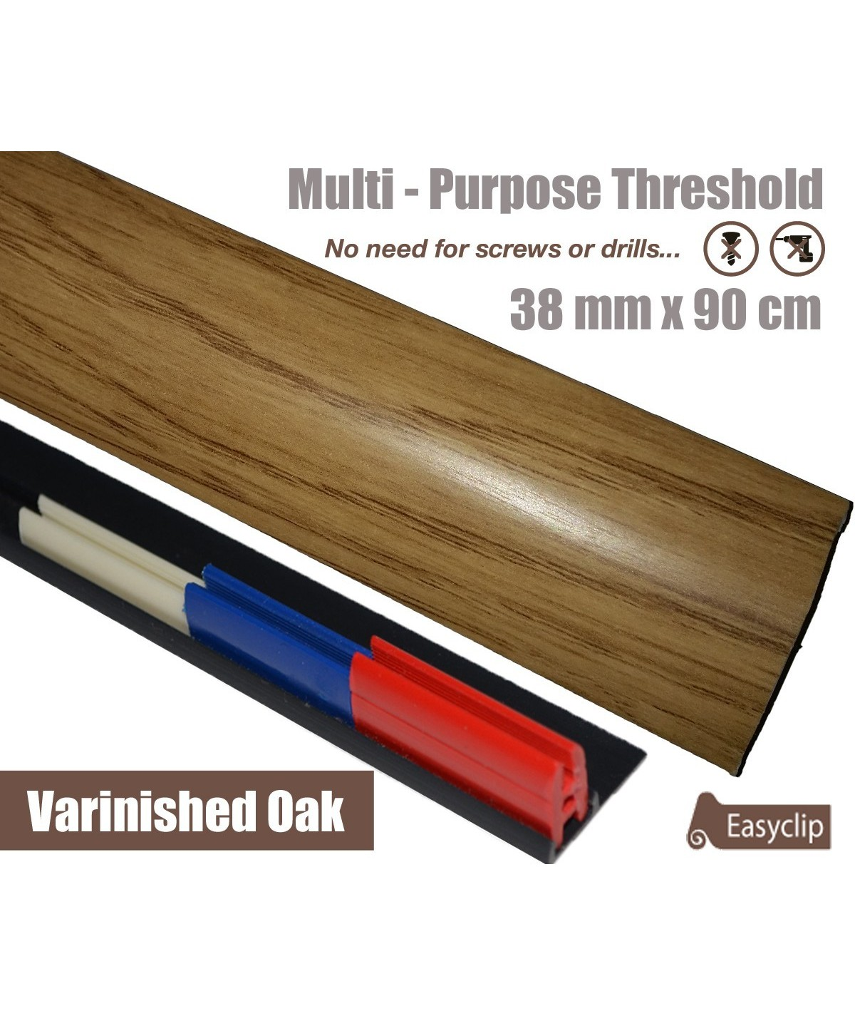 Varnished Oak Laminate Transition Strip 38mm x 0.90mtr Multi-Height and Pivot