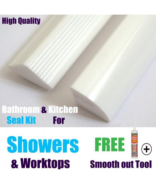 Shower Seal 2mtr Strips White Gloss Finnish Highest Quality
