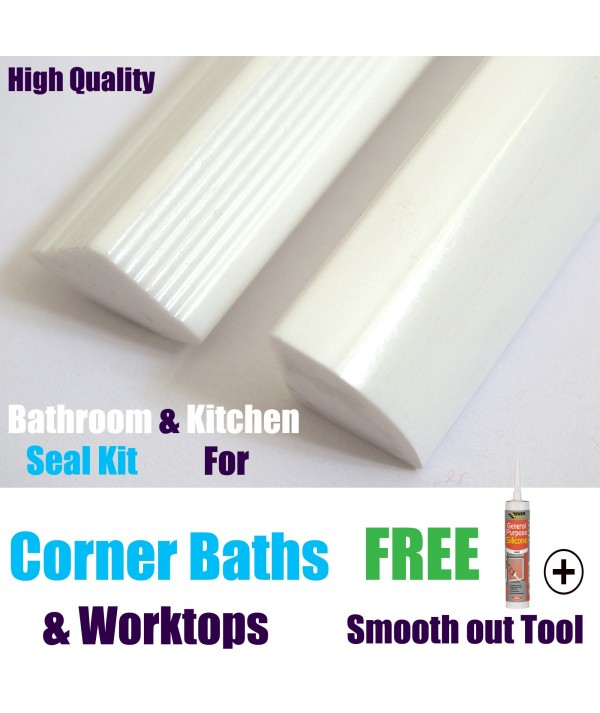 Solid Corner bath Seal 15mm profile gloss white finish