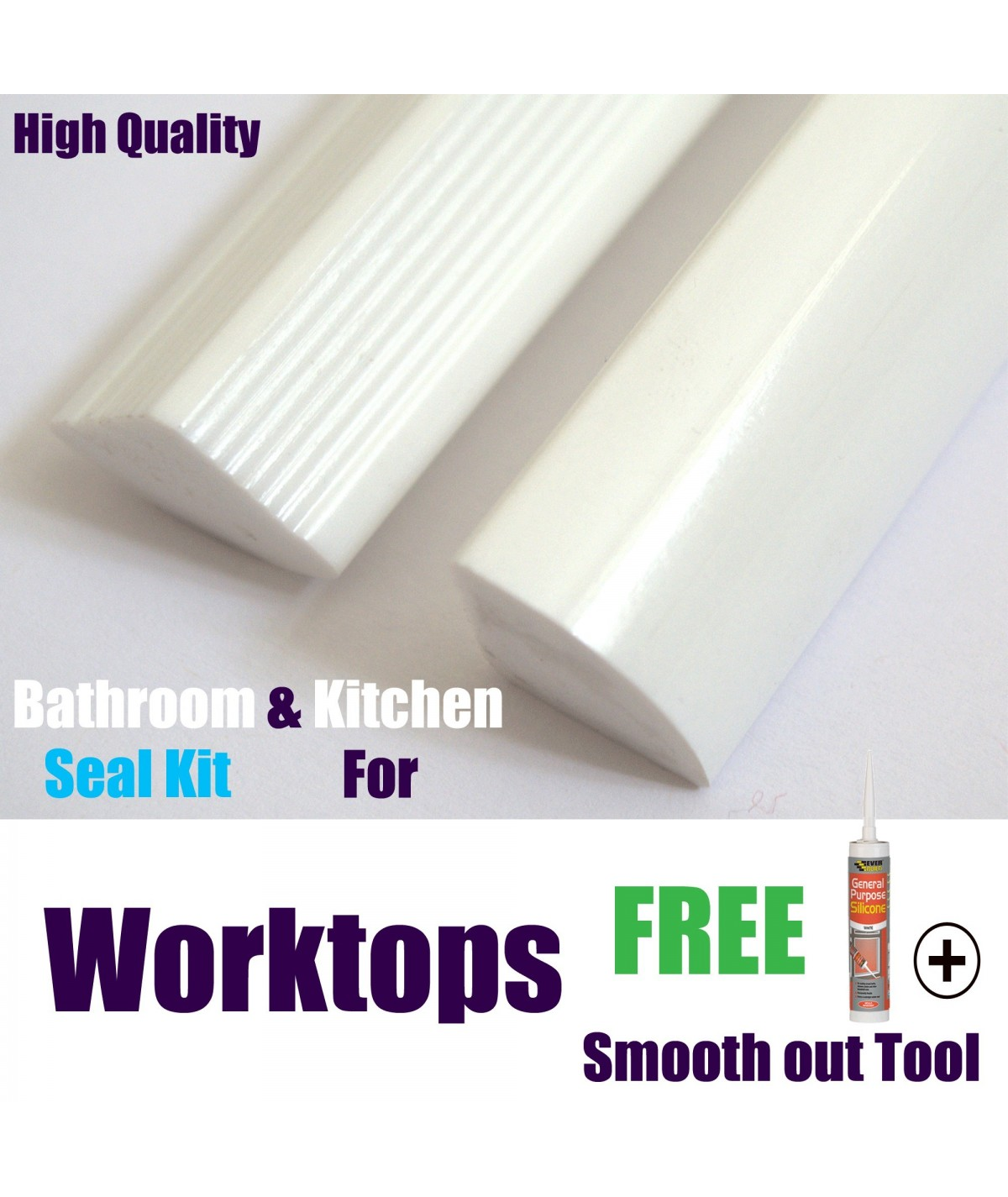 Solid worktop Seal 15mm profile gloss white finish