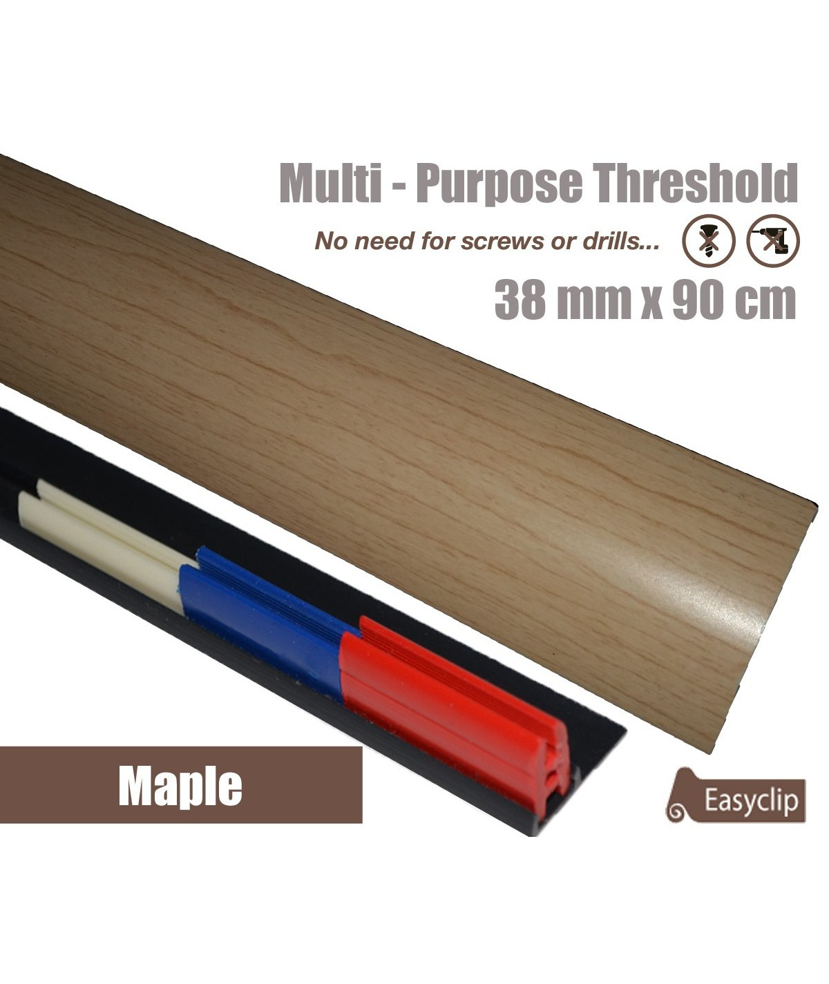 Maple Laminated Transition Threshold Strip 38mm Multi-Height/Pivots 90cm