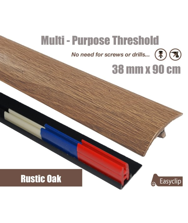 Rustic Oak Laminate Transition Threshold Strip 38mm Multi-Height/Pivots 90cm