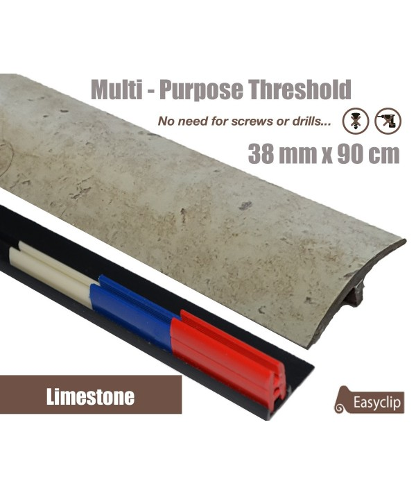 Limestone Laminate Transition Threshold Strip 38mm Multi-Height/Pivots 90cm