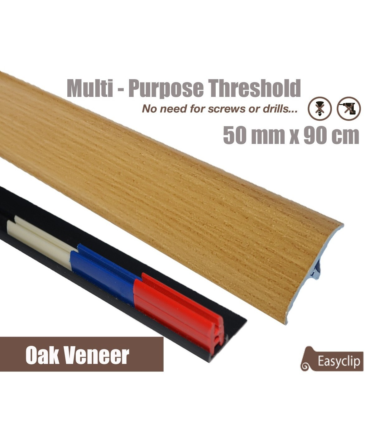 Oak Veneer Transition Threshold Strip  50mm x 90cm Multi-Height/Pivots