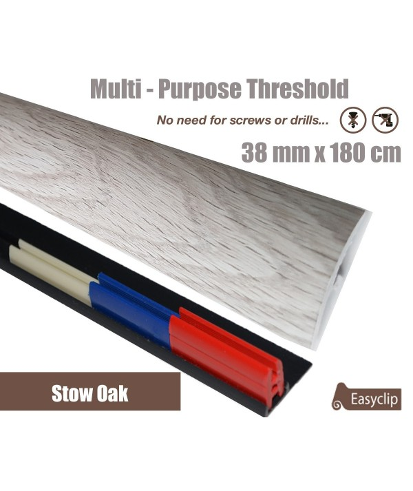 Stowe Oak Threshold Strip 38mm x 180cm laminate multi Purpose Adhesive Clip System