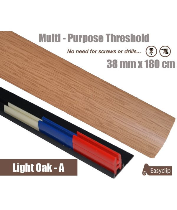 Light Oak Threshold Strip 38mm x 180cm laminate multi Purpose Adhesive Clip System