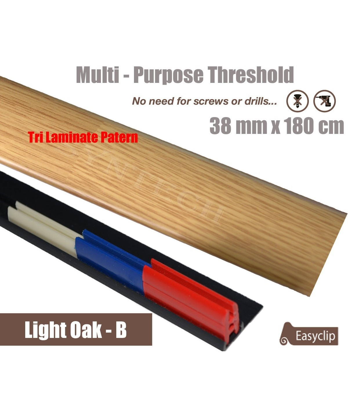 Light Oak Tri laminate FinishThreshold Strip 38mm x 180cm multi Purpose Adhesive Clip System