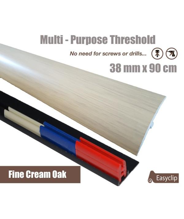 Fine Cream Oak Laminate Transition Strip 38mm x 0.90mtr Multi-Height and Pivot