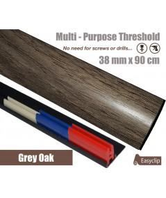 Grey Oak Laminated Transition Threshold Strip 38mm Multi-Height/Pivots 90cm