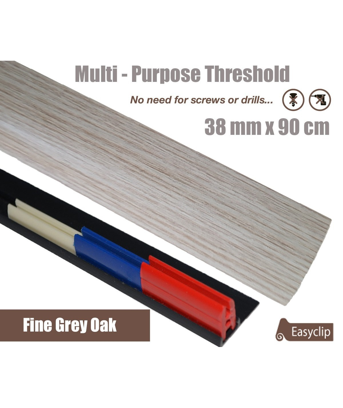 Fine Grey Oak Laminate Transition Strip 38mm x 0.90mtr Multi-Height and Pivot