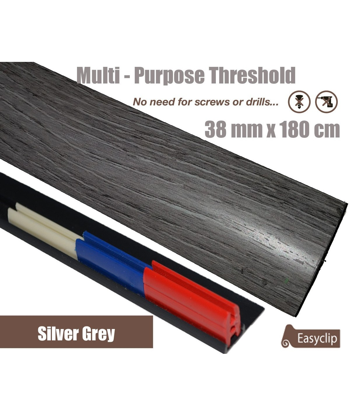 Silver Grey Threshold Strip 38mm x 180cm laminate multi Purpose Adhesive Clip System