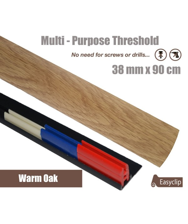 Warm Oak Laminate Door Threshold Strip 38mm x 90cm Multi-Height/Pivots Adhesive