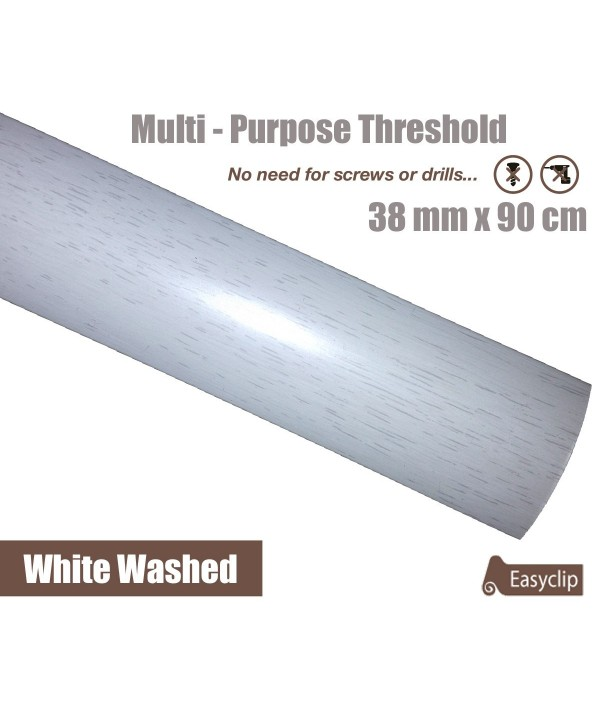 White Washed Oak Laminate Transition Strip 38mm x 0.90mtr Multi-Height and Pivot